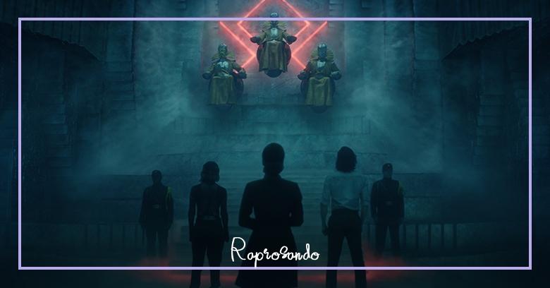 Loki, Sylvie e Ravonna diante dos Guardiões do Tempo no quarto episódio O Evento Nexus